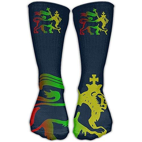 Benutzerdefinierte lustige Strümpfe Löwe von Juda Rasta Reggae Wurzeln elastische dünne Besatzung für und Mädchen Jungen Knie lange Socken Reisen atmungsaktiv