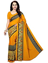 Ishin Poly Georgette Mustard Yellow Printed Women's Saree