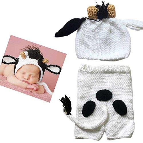 Hrph Neugeborenes Baby-Häkelarbeit-Kostüme-Fotoprops-strickende Beanie-Hut + Hosen gesetztes Säuglingsfoto-Stützen -
