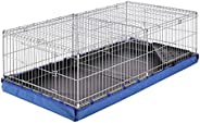 AmazonBasics Canvas Bottom Dual Habitat Pet Cage with Divider Set - 48 x 14 x 24 Inches, Blue