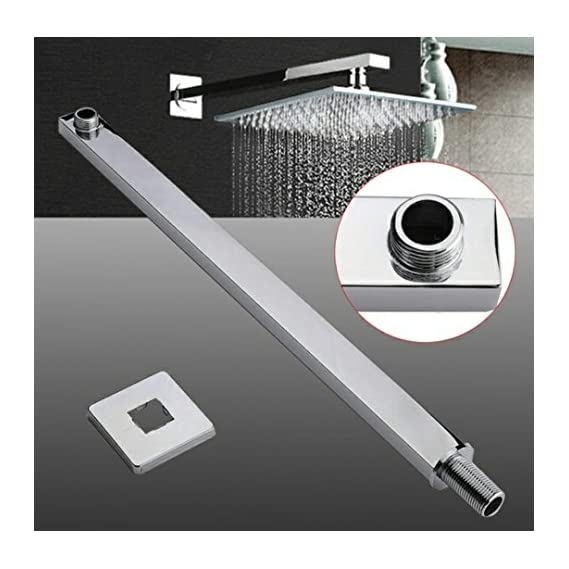TOTAL HOME :60cm 24 inch square chrome bathroom wall mounted shower extension arm for rain shower head top sprayer