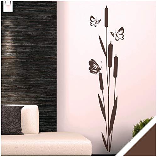 Exklusivpro Wandtattoo Schilf Pflanze mit Schmetterlinge für Wohnzimmer Schlafzimmer Flur oder Diele (jap03 braun) 120 x 29 cm mit Farb- u. Größenauswahl