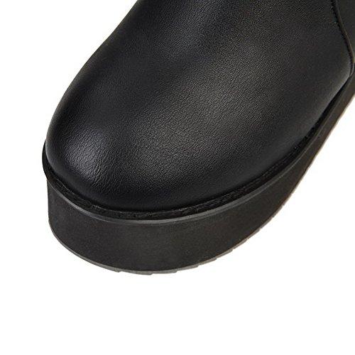 AllhqFashion Femme Couleur Unie Pu Cuir Plate-Forme Étanche Tire Rond Bottes Noir