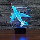 3D Illusion Lampene, KEEDA LED Touch Schreibtisch Lampe, Tischlampe Licht, LED Nachtlicht Kinder Dimmbar, 7 Farben Einzigartige Lichteffekte (Flugzeug-2)