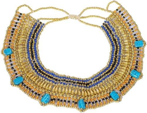 Bauchtanz Kostüm Pharaonen - Handgefertigt Perlen Königin Kleopatra Ägypten goldfarben Halskette Bauchtanz Kostüm