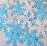 Snowflake Cake Decorations by Deb's Kitchen Cakes - 40 x Edible Wafer Christmas Cake Decorations - Blue and White Mix