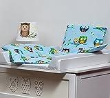Velinda Bettwäscheset mit Decke 80x70 Bettzeug für Kinderwagen Stubenwagen Babywiege (Muster: Eule_Blau)
