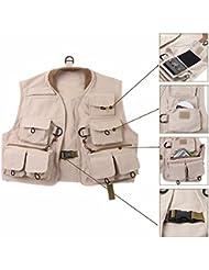 YHKQS-KQS Chaleco de la pesca de la mosca Bolso multi del algodón del 100% para la chaqueta de los niños del chaleco de la mosca de la juventud de los jóvenes 16.9 '' * 19.7 ''