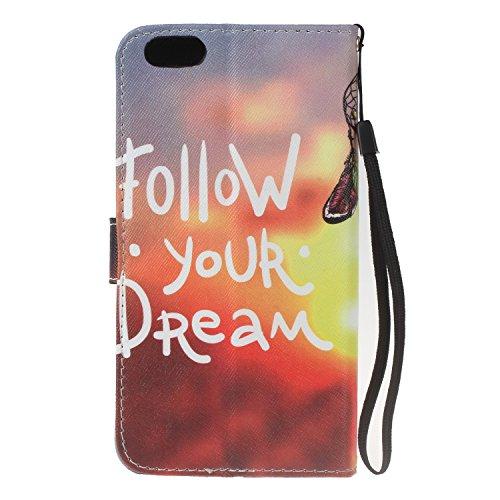 """PU iPhone 6 Coque Bookstyle Étui Fleur Housse en Cuir Case à rabat pour iPhone 6 (4.7"""") Coque de protection Portefeuille TPU Case Cover (+Bouchons de poussière) (5) 5"""