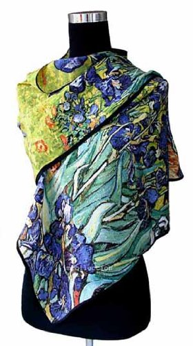 Prettystern P841 - 160cm pittura sciarpa di seta stampa d'arte - Van Gogh - Iris / le iridi