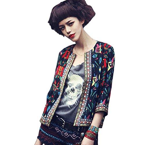 OverDose Damen Drei Viertel Sleeve dünne kurze Blumen Outwear Parka Trench Mantel Jacke (S, Schwarz) (Shirt Sleeve Viertel Drei)