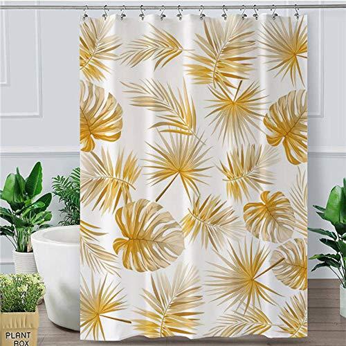 2 X Douche (bathroom home Golden Leaf Duschvorhang Tropical Botanic Wasserdicht Bad Vorhang Mit Haken Moderne Palm Leaves Douche 180X180 cm Weiß 2)
