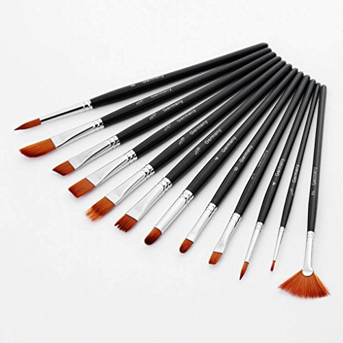 qhgstore-12pcs-short-handle-nylon-hair-artist-paint-brush-set-for-watercolor-acrylic-oil-painting-bl