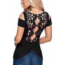 StyleDome Blusa Camiseta Casual Elegante Oficina Algodón Croché Mangas Cortas Abiertas para Mujer