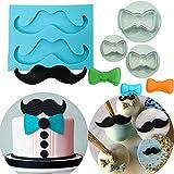 Set di 4 stampi per decorazione torte a tema JeVenis Little Man per baffi, cravatta, fiocco, decorazione per torta di primo compleanno