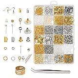 Accesorio reparación de bisutería ZoomSky 2438 pcs metálico oro y plateado con corchetes de langosta dedal pinza y tapones goma y gancho de pendiente para hacer o arreglar joyería manual y artesanía