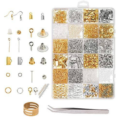 ZoomSky Schmuck Basteln Zubehör, 2536tlg Schmuckherstellung Set Schmuck Reparatur Werkzeug Kit in 24 Arten für Ohrringe Armband Halskette DIY Anfänger