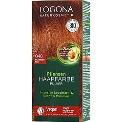 Logona cosmetici naturali Piante Capelli Colore Polvere 040fiamme Rosso, kupferiges Rosso, vegan, (1X 100G)