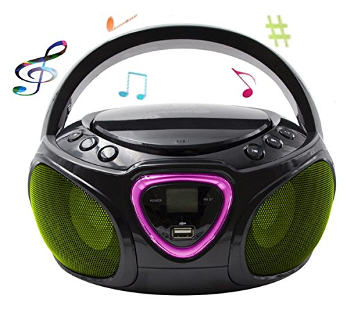 CD-Player mit LED-Beleuchtung | Tragbares Stereo Radio | Kinder Radio | Stereo Radio | Stereoanlage | Bluetooth | USB | CD/MP3 Player | Radio | Kopfhöreranschluss | Aux in | LCD-Display | (Schwarz)