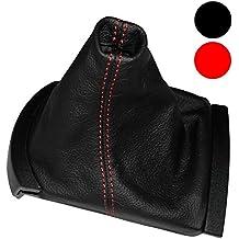 AERZETIX: Funda para palanca de cambios 100 % Piel Genuina negro Costuras de color rojo