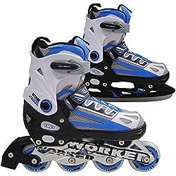 Worker Nolan - Bota de patines en línea y de hielo, 2 en 1 (talla ajustable 29-43), color azul azul azul Talla:large