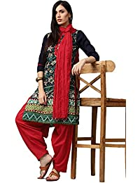 Jaipur Kurti Women's Cotton Kurta With Patiala & Dupatta Set (Navy Blue &Red)