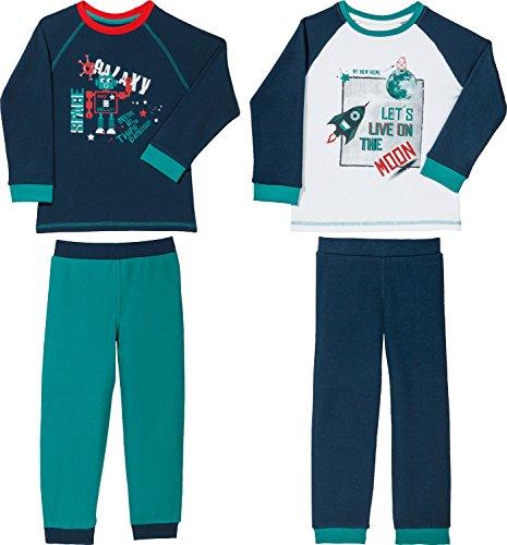 Kinderbutt Schlafanzug 2er-Pack mit Druckmotiv Interlock-Jersey smaragd/Marine/weiß Größe 134/140