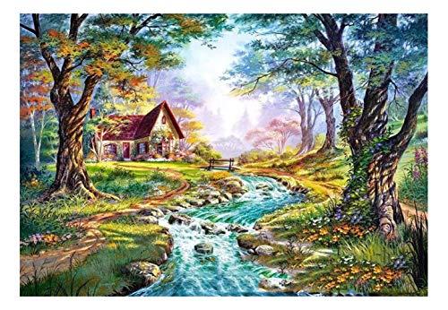 CJGD DIY Herbst Street View Landschaft Hause 5D Diamant Malerei Kreuzstich Diamant Stickmusterdekorativestrassmosaik Handwerk, 55 * 83 cm