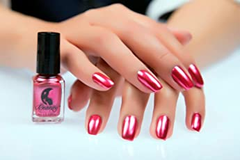 Forthery Mirror Silver Nail Polish Mirror Nail Polish Plating Paste Metal Color Stainless Steel Silver 6ml Red