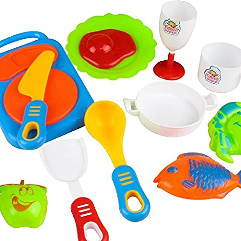 Giocattolo Di Formazione,WINWINTOM 17Pcs Plastica Bambini Bambini Utensili Da Cucina Cottura Degli Alimenti Finta Play (Riempito 17 Gioiello)