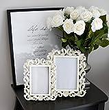 decoration & design Bilderrahmen 10x15 cm, Klassische Blumen Ornamente, Shabby Vintage Look, Weiß/Beige