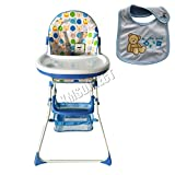 FoxHunter Portable Baby High Chair Infant Child Toddler Booster Nursery Furniture Folding Feeding Seat With Tray Storage Basket Bib Blue