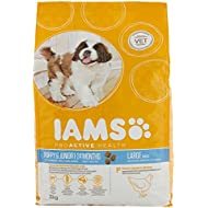 Iams ProActive Health Complete and Balanced Puppy Dog Food with Chicken for Large Breeds, 3 x 3 kg