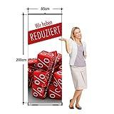 Rollup-Banner Wir haben reduziert (85 x 200 cm) Bannerdisplay Werbebanner