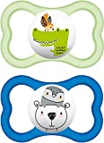 MAM Air SooTher Suitable 6 Months with Sterilisable Travel Case (Design May Vary) - Pack of 2, Blue/White