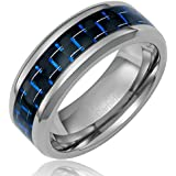 Cavalier Jewelers 8MM Men's Tungsten Carbide Ring Wedding Band with Black and Blue Carbon Fiber Inlay