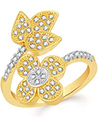 VK Jewels Flower With Leaf Gold And Rhodium Plated Alloy CZ American Diamond Adjustable Ring For Women [VKFR2713G]