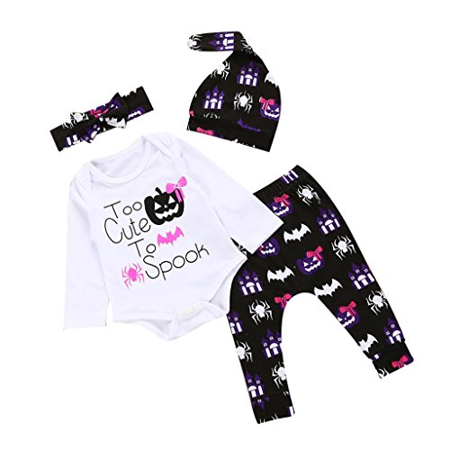 Magideal set tutine body pagliaccetti vestiti con pantalone ,fascia da capelli,cappelli halloween per bambini prima infanzia neonato - #2, 12-18 mesi