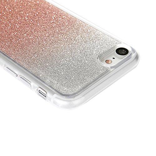 Für iPhone 7 4.7 Zoll Ultra Dünn Silikon Tasche,Für iPhone 7 4.7 Zoll Bling Glitter Schutz Hülle mit Liebe Herzen Ring Halter,Funyye Luxus [Herzen Ring Rosen-Gold Gradient Farbe] Sparkles Glänzend Gli Rosen-Gold Gradient