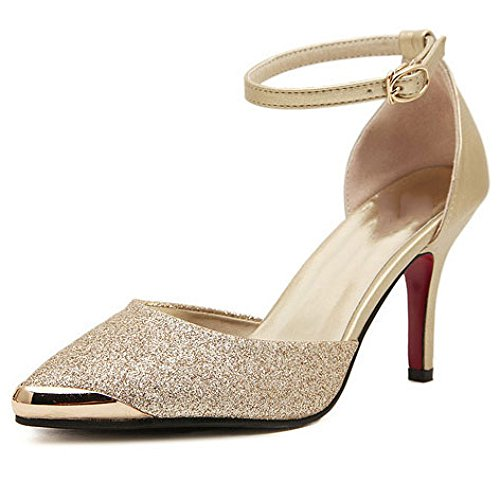 Damen Sandalen Knöchelriemen Sexy Stiletto High Heel Schuhe Damen Peep Toe Elegant Kleid Prom Pumps,Gold-EU36=230 Sexy Stiletto Heel Prom Schuhe
