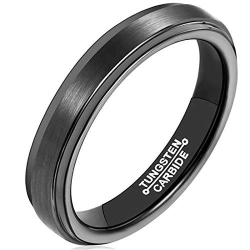 AMDXD Damen Herren Ring Wolfram Stahl (mit Gratis Gravur) Runde 4MM Schwarz Ehering 63 (20.1) Damen Titan Ehering 4mm