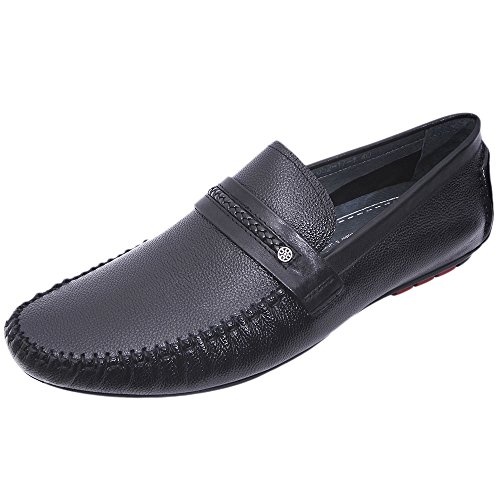 Louis Alberti Men's Black Leather Loafers (217101142) - 8 UK