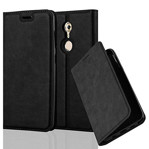 Cadorabo Hülle für ZTE AXON 7 Mini - Hülle in Nacht SCHWARZ – Handyhülle mit Magnetverschluss, Standfunktion und Kartenfach - Case Cover Schutzhülle Etui Tasche Book Klapp Style
