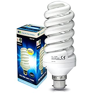 35w Energy Saving Spiral Light Bulb, 175w Equivalent Very Bright, Bayonet Cap B22, New Advanced T3 Technology Instant Light