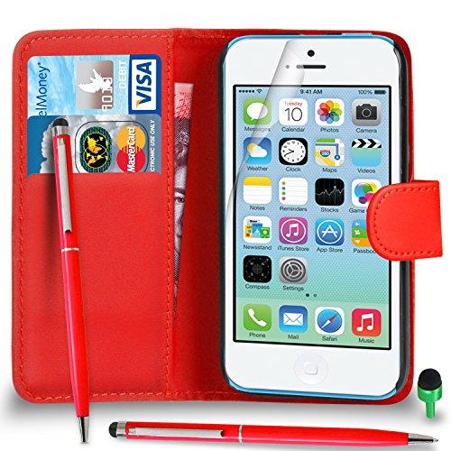 POUR Apple iPhone 5C - SHUKAN® Prime Cuir NOIR Portefeuille Cas Coque Couverture avec Balle Stylo Toucher Style VERT Cap Protecteur d'écran & Tissu de polissage ROUGE