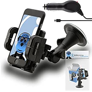 Black Multi-Directional Dashboard / Windscreen, Case Compatible (Use with or without your existing case!) Clip On Suction Mount In Car Holder with 1000 mAh [1A] MicroUSB In Car Charger For BLU Diva X