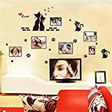 Beau Couple Chats Photo Cadre Stickers Muraux Amour Coeur Stickers Muraux Pour Salon Family Memory Décoration Salon Stickers