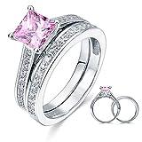Massiv 925Silber 1,5ct Princess Cut Rosa Erstellt Diamant Hochzeit Engagement Ring Set