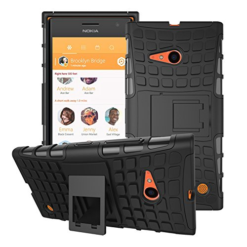 DEFENDER Hard Armor Hybrid Rubber Bumper Flip Stand Rugged Back Case Cover For NOKIA LUMIA 735 / 730 - Black  available at amazon for Rs.199