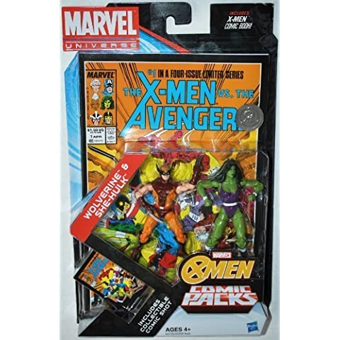 Marvel Universe, Exclusive Action Figure Comic Pack, Wolverine and She-Hulk, 3.75 Inches by Hasbro (English Manual)